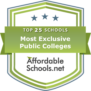 Top 25 Most Exclusive Public Bachelor's Colleges by Admission Rate