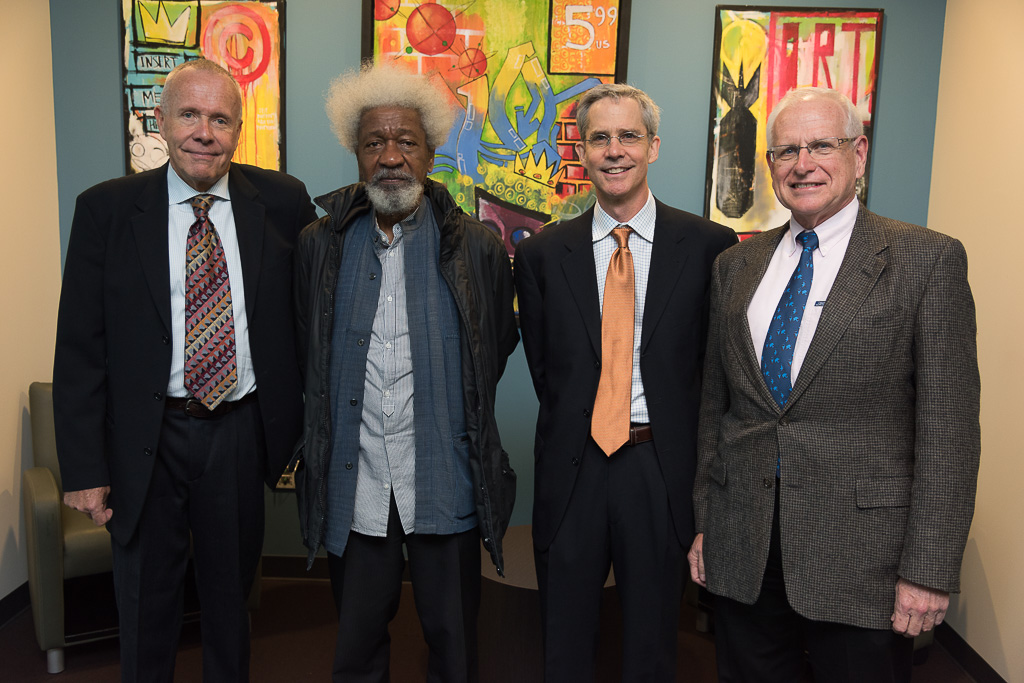 (left to right) Ambassador Doug McElhaney, Nobel Laureate Wole Soyinka, Dr. Thomas Smith and presenter and sponsor George Hamilton, Chairman of National Payment Corporation (NatPay)
