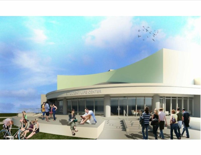 Artist's rendering of the proposed Student Life Center.