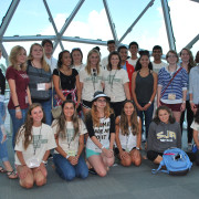 Students in the USF St. Petersburg College Visions program pose for a picture in the Dali Museum in downtown St. Petersburg