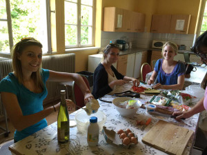USF St. Petersburg students prepare quiche during a cooking class at the Chateau de Pourtales in Strasbourg, France.