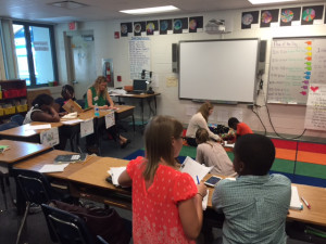 Campbell Park Elementary students interact and work with USF St. Petersburg education minors.