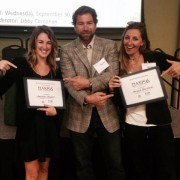 Photo of USFSP students Amanda Chappel and Megan Burford pose with their awards alongside Dr. Ryan Moyer, USFSP faculty member and associate research scientist at the Florida Fish and Wildlife Research Institute