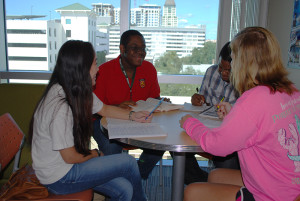 USFSP students Makayla Mitchell, chemical engineer major; Jordan Johnson, accounting major; Joshua Dixon, political science major; and Laura Sinor, psychology major and resident assistant.