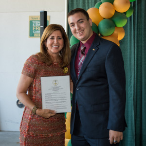 USF Trustee and Campus Board Chair Debbie Nye Sembler and Josef Gherman, USF Trustee and USFSP Student Body President