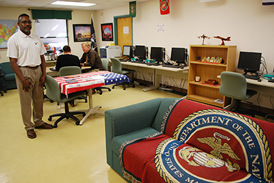 A photo of the inside of the new Military and Veterans Success Center at USF St. Petersburg