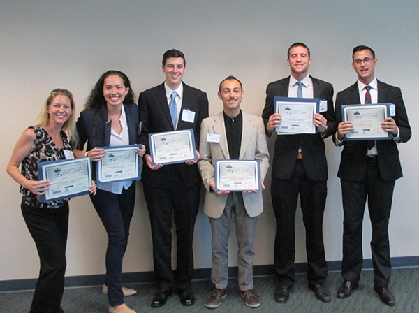A photo of the USFSP student participants, from left: Heidi Roschke, Emily McKelvey, Caleb Bacon, Aaron Wasserman, Tim Carty and Andy Fernandez. Photo is courtesy of Andy Fernandez.