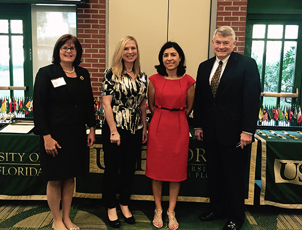 A photo of USFSP faculty Judithanne Scourfield McLauchlan, Tiffany Chenneville, Martine Fernandes Wagner and Jeffrey Cornelius, interim dean, College of Arts and Sciences.