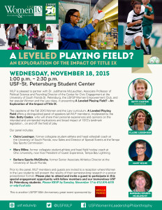 "A PDF of the event flyer for ""A Leveled Playing Field? An Exploration of the Impact of Title IX"""