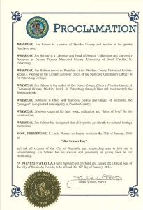 A photo of the proclamation from the City of Seminole to Jim Schnur.