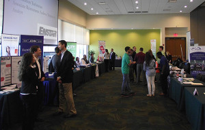 A photo of people at a previous Internship and Career Fair. The photo is courtesy of the USFSP Career Center.