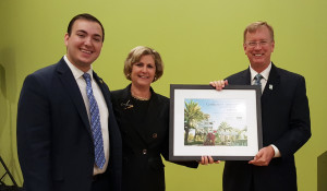 A photo of USF Trustee Jozef Gherman, USF Trustee and Campus Board Chair Stephanie Goforth, and Interim Regional Associate Vice Chancellor Tuck Tucker