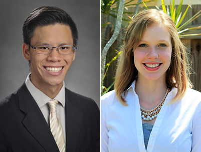 A photo of USFSP graduates Corey Yeung and Julia Strauss