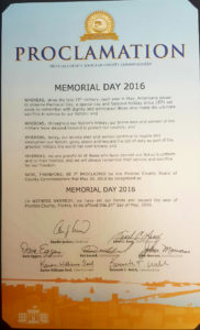 A photo of the Memorial Day proclamation from the Pinellas County Board of County Commissioners