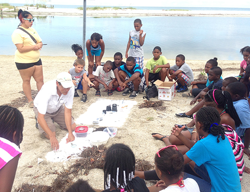 A photo of Pinellas County School students participating in a field trip to  Fort De Soto
