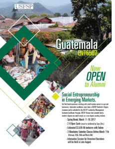 A flyer graphic with information about the USFSP Education Abroad class to Guatemala