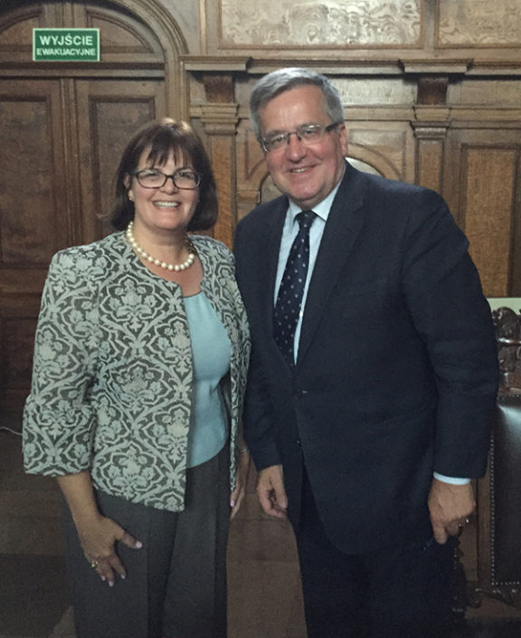 A photo of USFSP Associate Professor of Political Science Dr. Judithanne Scourfield McLauchlan and former Polish President Bronislaw Komorowski