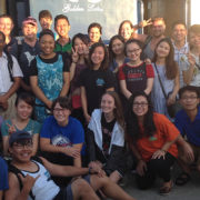 A photo of USFSP, USF, SPC, and Vinh University students meeting at the train station in Vietnam