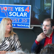 A photo of Susan Glickman with Southern Alliance for Clean Energy Action Fund and Tori Perfetti with Floridians for Lower Energy Costs. Photo credit: Sean Kinane, WMNF News.