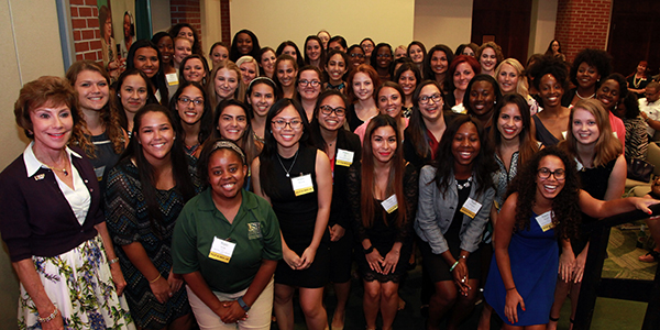 A photo of USF System President Judy Genshaft with the 2016-17 Women in Leadership & Philanthropy student scholarship recipients