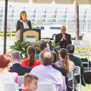 Regional Chancellor Sophia Wisniewska speaks at the ribbon cutting ceremony for the USFSP Military and Veterans Success Center in Fall 2015