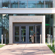 A photo of the entrance to Lynn Pippenger Hall, the new home for the Kate Tiedemann College of Business