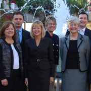 A photo of USFSP's Performance Funding Champions, who will lead initiatives for BOG funding metrics. From left: Donna Knudsen, Patti Helton, David Everingham, Shari Schwartz, Cyndie Collins, Susan Toler, Andrew Konapelsky, Gary Patterson, and Jake Diaz.
