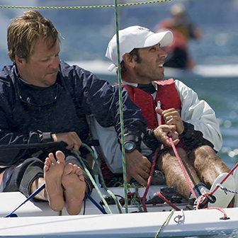 A photo of Alan Capellin sailing with friend George Szabo. Photo credit: Fried Elliott/www.friedbits.com