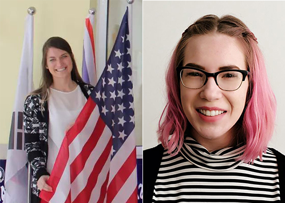 Side-by-side photos of Rebecca Pirie with a flag and a close-up photo of Emily Tanner.