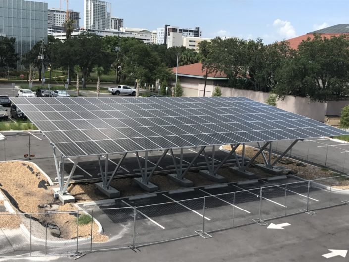 This 40kw solar array carport on campus will power 15 percent of the new Poynter Warehouse Labs.