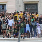 """Elementary students in the """"PREP for Middle School Success"""" program along with USFSP education majors take a field trip to St. Petersburg City Hall."""