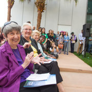 Lynn Pippenger (far left) attends the ribbon cutting ceremony for Lynn Pippenger Hall at USFSP last year, seated next to Kate Tiedemann and Ellen Cotton.