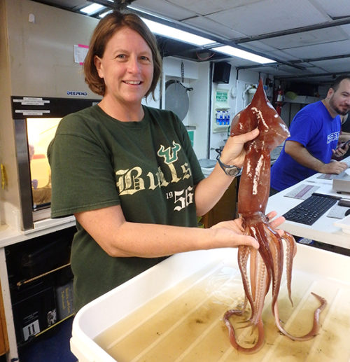 Professor Heather Judkins on board a research vessel in the Gulf of Mexico analyzing a recently captured squid.