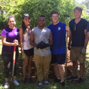 USFSP students working in the butterfly garden on the USFSP campus