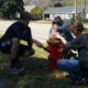 USB students painting fire hydrants in Norway, SC.