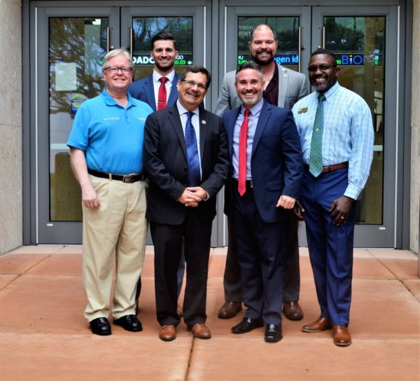 From left: Interim Regional Chancellor Martin Tadlock, Mike Ciminna, Rep. Gus Bilirakis, Ben Smet, Brian Anderson, and Coordinator of USFSP Military and Veterans Success Center Milton White.