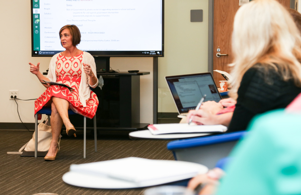 U.S. Representative Kathy Castor held a lengthy back and forth discussion with the class about the culture of Congress, pay gap disparity and solutions to increase wages in Florida.
