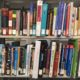 Some of the textbooks in the USF St. Petersburg Library's reserve collection.