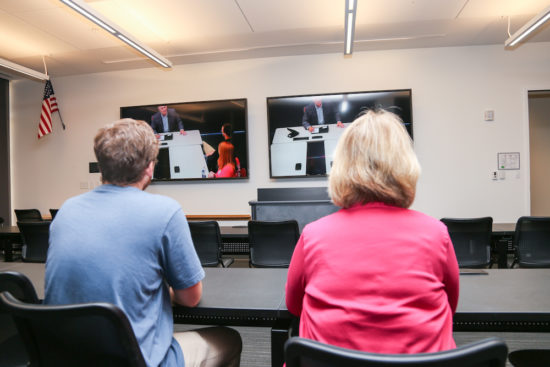 High definition cameras and microphones capture video recordings and clean audio of the focus group, which can be analyzed on two 90-inch HD monitors.
