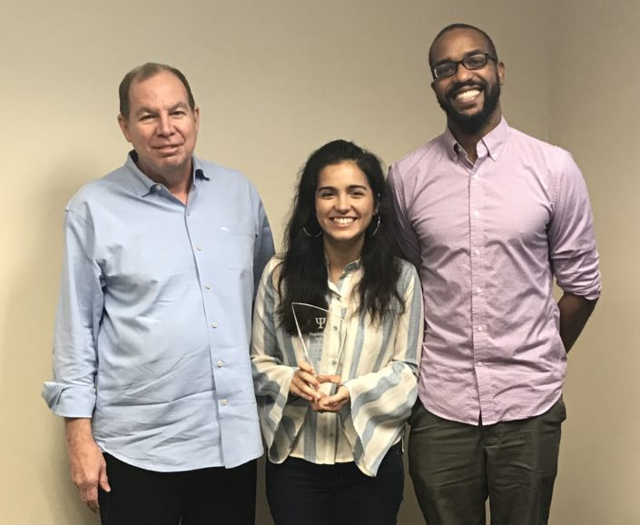 Sophia Perez received the Durand Family Scholarship at a reception on August 30, being recognized by Psychology Professors Dr. Mark Durand (left) and Dr. Max Owens (right).