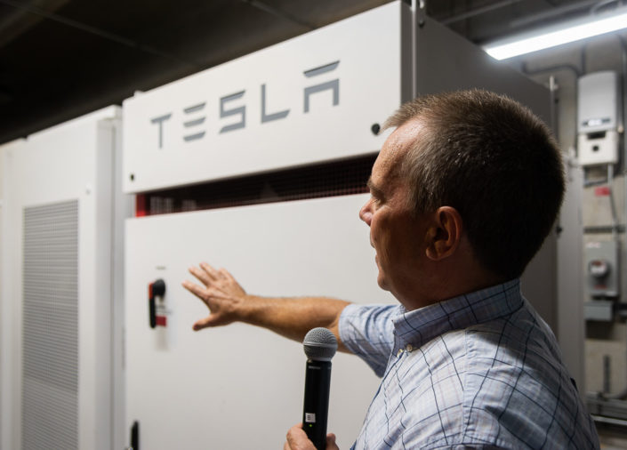 George Gerlaskie of Duke Energy describing how the new Tesla Battery solar storage system operates during the demonstration.