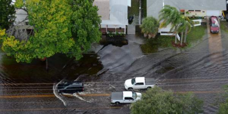 Flooding of the Shore Acres neighborhood in St. Petersburg, FL.