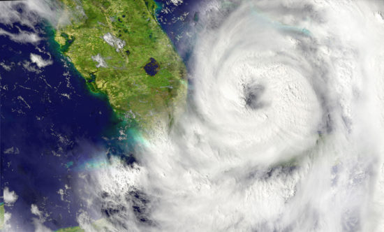 A hurricane approaching Florida from space.