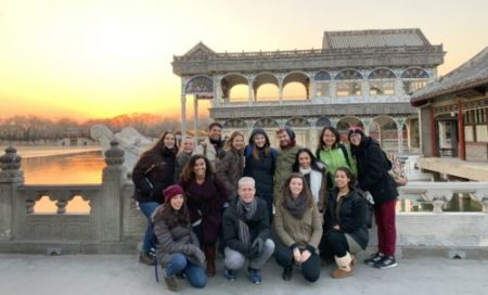 The group of students with Professor Smith at the Forbidden City.