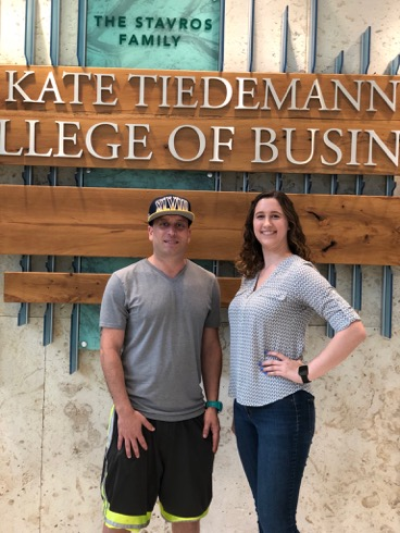 Finance major Michael Paladino, left, and management major Juliana Franzese say the hands-on approach to a real-world challenge is preparing them for their careers.