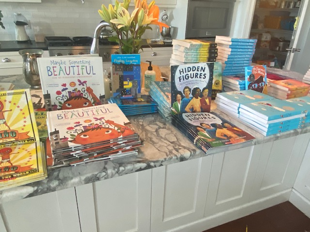 Some of the children books that were delivered to 45 local families.