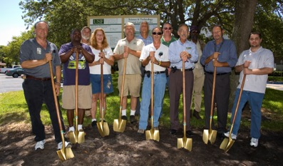 Kevin (far left) at the groundbreaking for the Science & Technology Building in 2005.