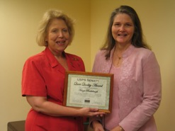Tanya receives the 2006 Quiet Quality Recognition award.